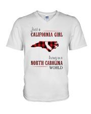 JUST A CALIFORNIA GIRL IN A NORTH CAROLINA WORLD V-Neck T-Shirt thumbnail