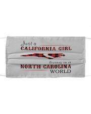 JUST A CALIFORNIA GIRL IN A NORTH CAROLINA WORLD Cloth face mask thumbnail