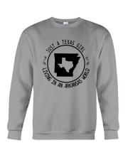 TEXAS GIRL LIVING IN ARKANSAS WORLD Crewneck Sweatshirt thumbnail