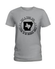 TEXAS GIRL LIVING IN ARKANSAS WORLD Ladies T-Shirt thumbnail