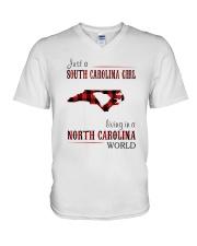 JUST A SOUTH CAROLINA GIRL-A NORTH CAROLINA WORLD V-Neck T-Shirt thumbnail