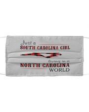 JUST A SOUTH CAROLINA GIRL-A NORTH CAROLINA WORLD Cloth face mask thumbnail