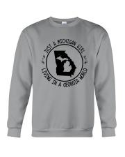 MICHIGAN GIRL LIVING IN GEORGIA WORLD Crewneck Sweatshirt thumbnail