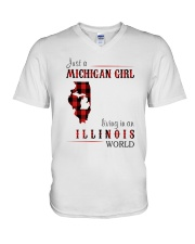 JUST A MICHIGAN GIRL IN AN ILLINOIS WORLD V-Neck T-Shirt thumbnail