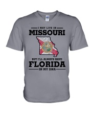 LIVE IN MISSOURI BUT I'LL HAVE FLORIDA IN MY DNA V-Neck T-Shirt thumbnail