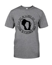 ILLINOIS GIRL LIVING IN WISCONSIN WORLD Classic T-Shirt thumbnail