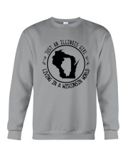 ILLINOIS GIRL LIVING IN WISCONSIN WORLD Crewneck Sweatshirt thumbnail