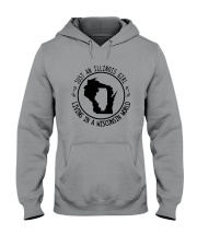 ILLINOIS GIRL LIVING IN WISCONSIN WORLD Hooded Sweatshirt front