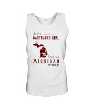 JUST A MARYLAND GIRL IN A MICHIGAN WORLD Unisex Tank thumbnail