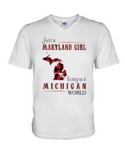 JUST A MARYLAND GIRL IN A MICHIGAN WORLD V-Neck T-Shirt thumbnail