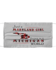 JUST A MARYLAND GIRL IN A MICHIGAN WORLD Cloth face mask thumbnail