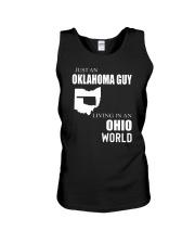 JUST AN OKLAHOMA GUY IN AN OHIO WORLD Unisex Tank thumbnail