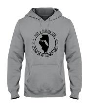 FLORIDA GIRL LIVING IN ILLINOIS WORLD Hooded Sweatshirt front