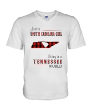 JUST A SOUTH CAROLINA GIRL IN A TENNESSEE WORLD V-Neck T-Shirt thumbnail