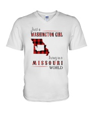 JUST A WASHINGTON GIRL IN A MISSOURI WORLD V-Neck T-Shirt thumbnail