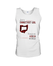 JUST A CONNECTICUT GIRL IN AN OHIO WORLD Unisex Tank thumbnail