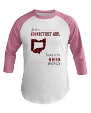 JUST A CONNECTICUT GIRL IN AN OHIO WORLD Baseball Tee thumbnail