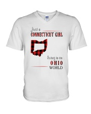 JUST A CONNECTICUT GIRL IN AN OHIO WORLD V-Neck T-Shirt thumbnail