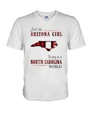 JUST AN ARIZONA GIRL IN A NORTH CAROLINA WORLD V-Neck T-Shirt thumbnail