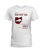 JUST A KENTUCKY GIRL IN AN OHIO WORLD Ladies T-Shirt thumbnail