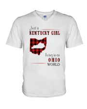 JUST A KENTUCKY GIRL IN AN OHIO WORLD V-Neck T-Shirt tile