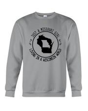 MISSOURI GIRL LIVING IN WISCONSIN WORLD Crewneck Sweatshirt thumbnail