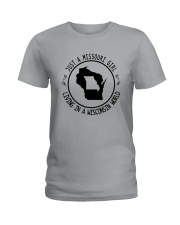 MISSOURI GIRL LIVING IN WISCONSIN WORLD Ladies T-Shirt thumbnail