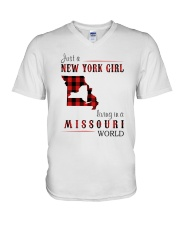 JUST A NEW YORK GIRL IN A MISSOURI WORLD V-Neck T-Shirt thumbnail