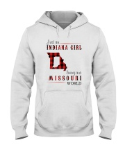 JUST AN INDIANA GIRL IN A MISSOURI WORLD Hooded Sweatshirt front