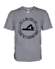 NEW YORK GIRL LIVING IN VIRGINIA WORLD V-Neck T-Shirt thumbnail