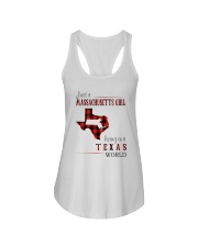 JUST A MASSACHUSETTS GIRL IN A TEXAS WORLD Ladies Flowy Tank thumbnail