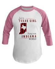 JUST A TEXAS GIRL IN AN INDIANA WORLD Baseball Tee thumbnail