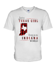 JUST A TEXAS GIRL IN AN INDIANA WORLD V-Neck T-Shirt thumbnail