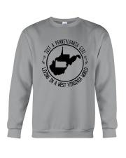 PENNSYLVANIA GIRL LIVING IN WEST VIRGINIA WORLD Crewneck Sweatshirt thumbnail