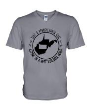 PENNSYLVANIA GIRL LIVING IN WEST VIRGINIA WORLD V-Neck T-Shirt thumbnail