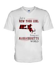 JUST A NEW YORK GIRL IN A MASSACHUSETTS WORLD V-Neck T-Shirt thumbnail