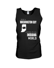 JUST A WASHINGTON GUY IN AN INDIANA WORLD Unisex Tank thumbnail