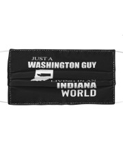 JUST A WASHINGTON GUY IN AN INDIANA WORLD Cloth face mask thumbnail