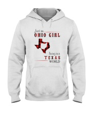 JUST AN OHIO GIRL IN A TEXAS WORLD Hooded Sweatshirt front