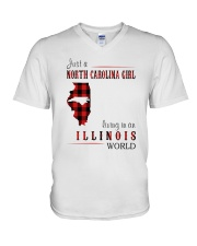 JUST A NORTH CAROLINA GIRL IN AN ILLINOIS WORLD V-Neck T-Shirt thumbnail