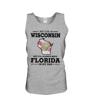 LIVE IN WISCONSIN BUT I'LL HAVE FLORIDA IN MY DNA Unisex Tank thumbnail