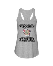 LIVE IN WISCONSIN BUT I'LL HAVE FLORIDA IN MY DNA Ladies Flowy Tank thumbnail