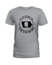 ARIZONA GIRL LIVING IN IOWA WORLD Ladies T-Shirt tile
