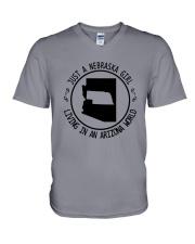 NEBRASKA GIRL LIVING IN ARIZONA WORLD V-Neck T-Shirt thumbnail
