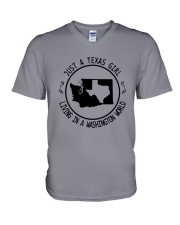 TEXAS GIRL LIVING IN WASHINGTON WORLD V-Neck T-Shirt thumbnail