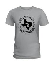 MICHIGAN GIRL LIVING IN TEXAS WORLD Ladies T-Shirt thumbnail