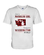 JUST A MICHIGAN GIRL IN A WASHINGTON WORLD V-Neck T-Shirt thumbnail