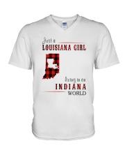 JUST A LOUISIANA GIRL IN AN INDIANA WORLD V-Neck T-Shirt thumbnail