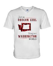 JUST AN OREGON GIRL IN A WASHINGTON WORLD V-Neck T-Shirt thumbnail
