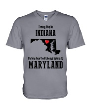 LIVE IN INDIANA BUT BELONG TO MARYLAND V-Neck T-Shirt thumbnail